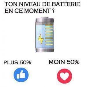 Statut facebook proposant un sondage inutile sur l'état de la batterie de votre téléphone
